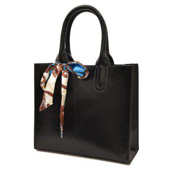 Scarf Knotted Faux Leather Handbag - BLACK