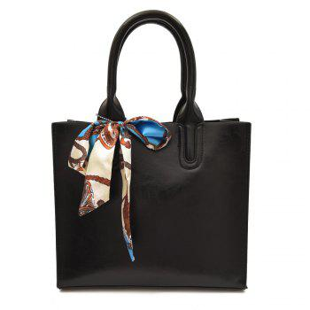 Scarf Knotted Faux Leather Handbag - BLACK BLACK