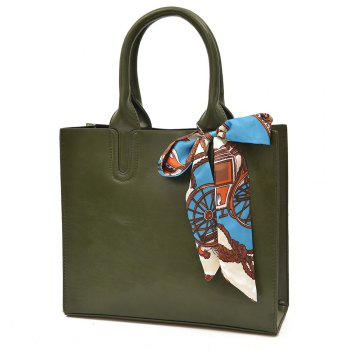 Scarf Knotted Faux Leather Handbag - GREEN