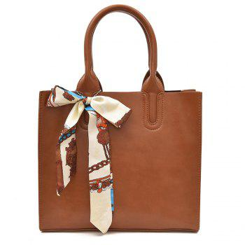 Scarf Knotted Faux Leather Handbag - BROWN BROWN