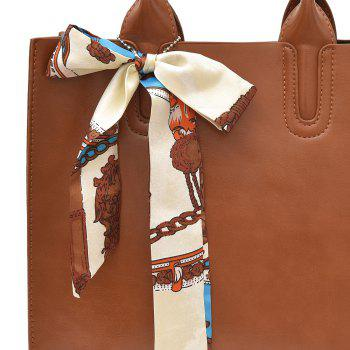 Scarf Knotted Faux Leather Handbag -  BROWN