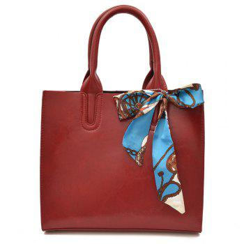 Scarf Knotted Faux Leather Handbag - RED RED