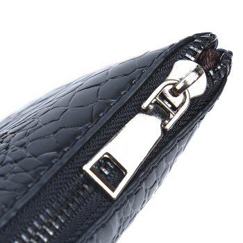 Faux Leather Croco Embossed Wristlet Bag -  BLACK