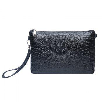 Faux Leather Croco Embossed Wristlet Bag