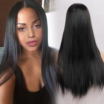 Middle Part Straight Heat Resistant Long Synthetic Wig - JET BLACK 01# 24INCH