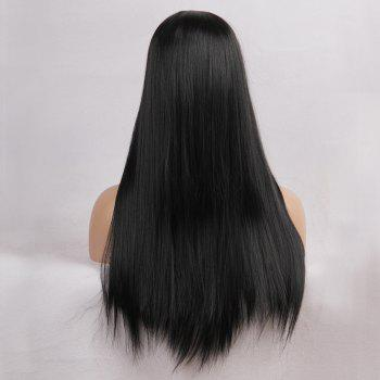 Middle Part Straight Heat Resistant Long Synthetic Wig - JET BLACK 24INCH