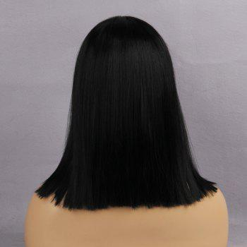 Medium Center Parting Straight Blunt Bob Synthetic Wig -  JET BLACK