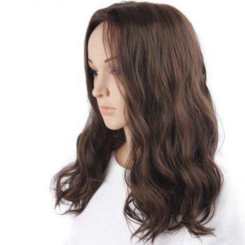 Middle Part Fluffy Body Wave Medium Synthetic Wig -  BROWN