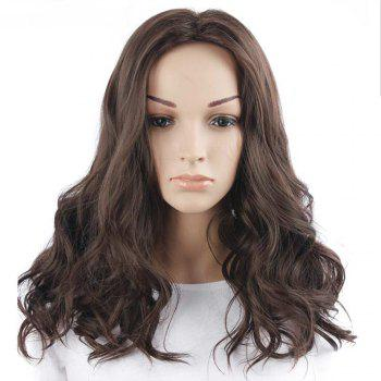 Middle Part Fluffy Body Wave Medium Synthetic Wig - BROWN BROWN