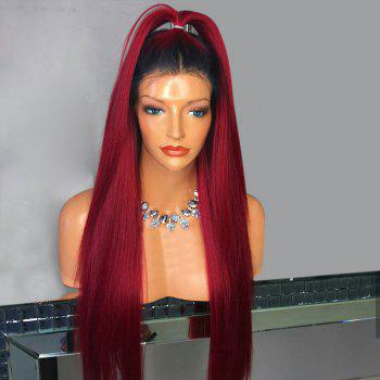 Middle Part Ombre Long Straight Lace Front Synthetic Wig With Ponytail - WINE RED WINE RED