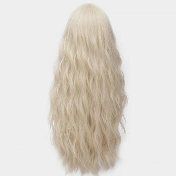 Middle Part Long Fluffy Water Wave Synthetic Party Wig - LIGHT GOLD