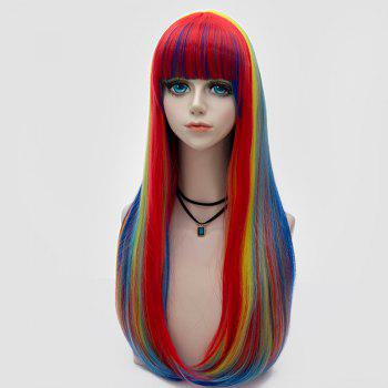 Long Full Bang Tail Adduction Straight Synthetic Rainbow Party Wig - COLORFUL