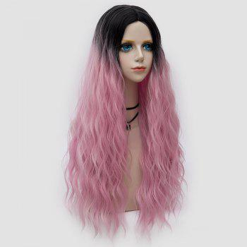 Middle Part Long Fluffy Water Wave Synthetic Party Wig - LIGHT PINK