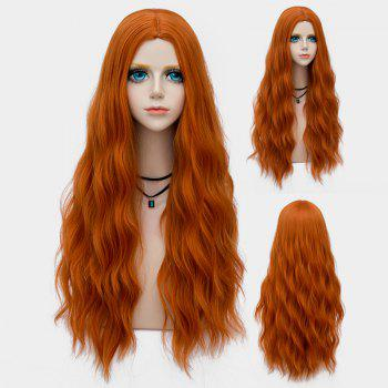 Middle Part Long Fluffy Water Wave Synthetic Party Wig - PEARL KUMQUAT PEARL KUMQUAT