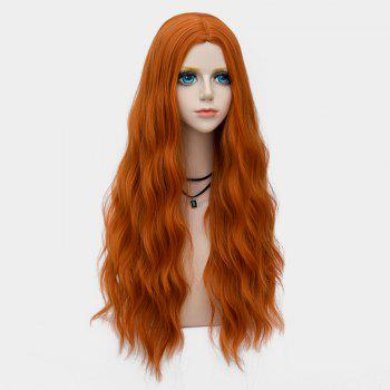 Middle Part Long Fluffy Water Wave Synthetic Party Wig - PEARL KUMQUAT
