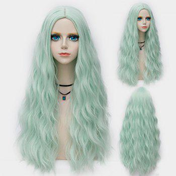 Middle Part Long Fluffy Water Wave Synthetic Party Wig - NEON GREEN NEON GREEN
