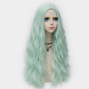 Middle Part Long Fluffy Water Wave Synthetic Party Wig - NEON GREEN