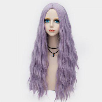 Middle Part Long Fluffy Water Wave Synthetic Party Wig - LARKSPUR