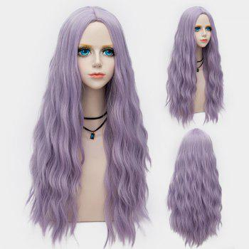 Middle Part Long Fluffy Water Wave Synthetic Party Wig - LARKSPUR LARKSPUR