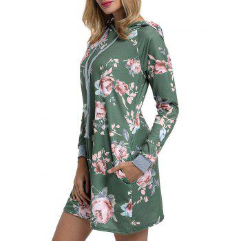 Floral Printed Drawstring Hoodie Dress - GREEN S