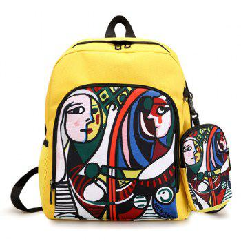 2 Pieces Hand Painting Side Pockets Backpack Set - YELLOW YELLOW