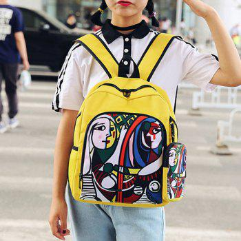 2 Pieces Hand Painting Side Pockets Backpack Set -  YELLOW