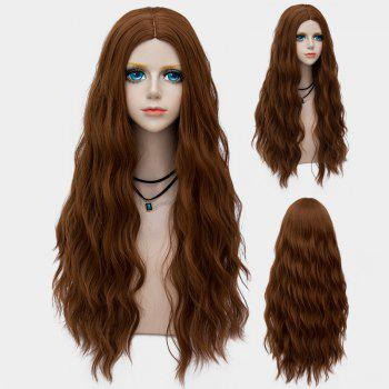 Middle Part Long Fluffy Water Wave Synthetic Party Wig - BROWN BROWN