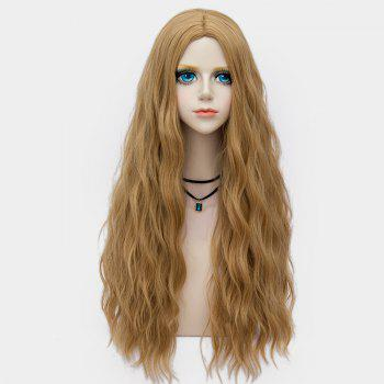 Middle Part Long Fluffy Water Wave Synthetic Party Wig -  FLAX