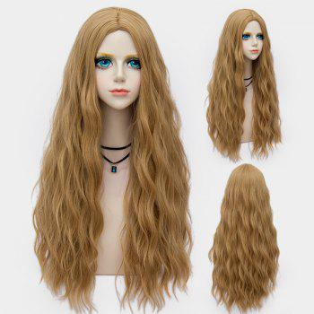 Middle Part Long Fluffy Water Wave Synthetic Party Wig - FLAX FLAX