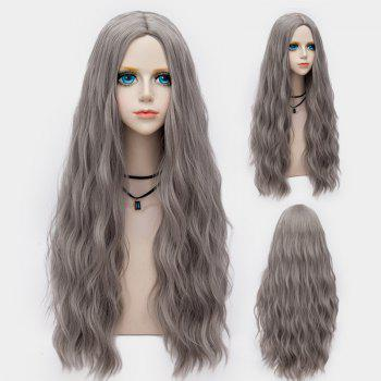 Middle Part Long Fluffy Water Wave Synthetic Party Wig - LIGHT GRAY LIGHT GRAY