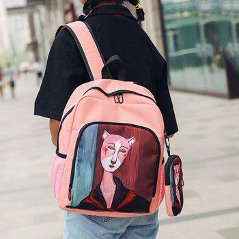 2 Pieces Hand Painting Side Pockets Backpack Set -  PINK