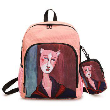 2 Pieces Hand Painting Side Pockets Backpack Set - PINK PINK