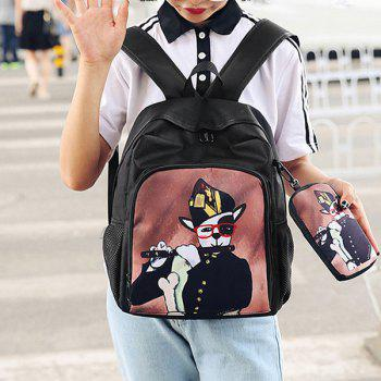 2 Pieces Hand Painting Side Pockets Backpack Set -  BLACK