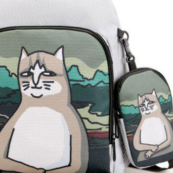 2 Pieces Hand Painting Side Pockets Backpack Set -  GRAY