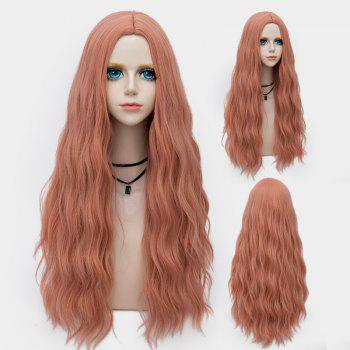 Middle Part Long Fluffy Water Wave Synthetic Party Wig - PINK+RAINBOW PINK/RAINBOW