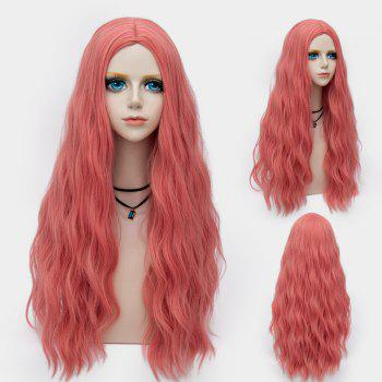 Middle Part Long Fluffy Water Wave Synthetic Party Wig - WATERMELON RED WATERMELON RED