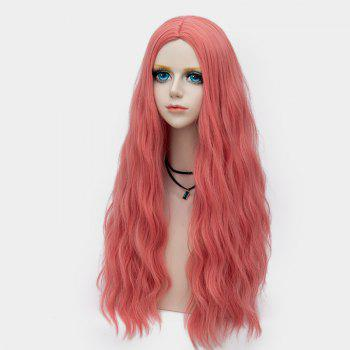 Middle Part Long Fluffy Water Wave Synthetic Party Wig - WATERMELON RED