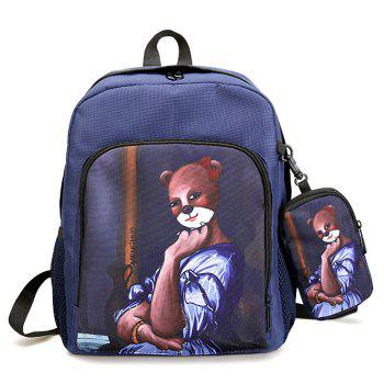 2 Pieces Hand Painting Side Pockets Backpack Set - BLUE BLUE