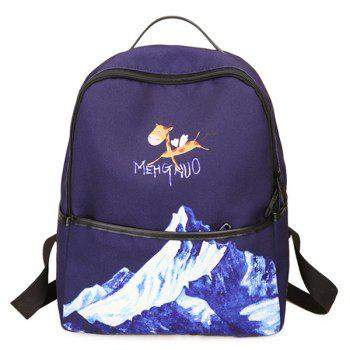 Nylon Zips Hand Printed Backpack - BLUE BLUE