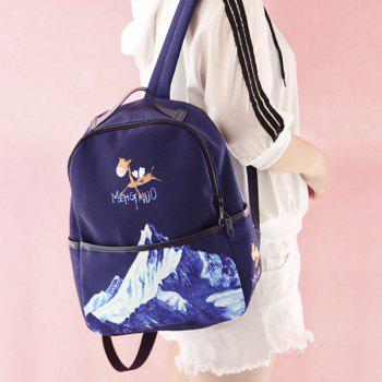 Nylon Zips Hand Printed Backpack -  BLUE