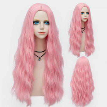 Middle Part Long Fluffy Water Wave Synthetic Party Wig - WATER RED WATER RED