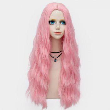 Middle Part Long Fluffy Water Wave Synthetic Party Wig - WATER RED