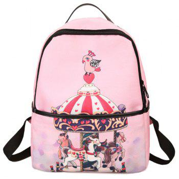 Nylon Zips Hand Printed Backpack - PINK PINK
