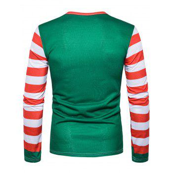 3D Dog Stripe Print Long Sleeve T-shirt - DEEP GREEN 2XL