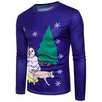 Christmas 3D Snowman Print T-shirt - BLUE 2XL