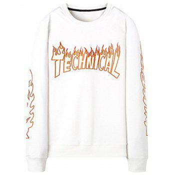 Flame  Embroidery Crew Neck Sweatshirt - WHITE WHITE