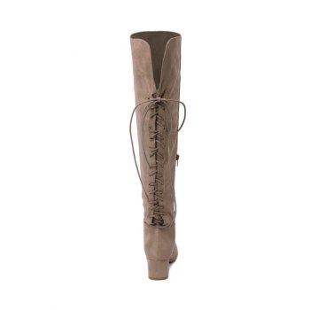Lace Up Chunky Heel Over The Knee Boots - APRICOT 38