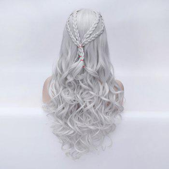 Braided Wavy Long Synthetic Game of Thrones Perruque Cosplay Daenerys Targaryen - Blanc Argent