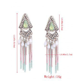 Rhinestone Resin Teardrop Fringed Chain Earrings - Vert
