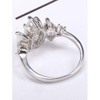 Horse Eye Shape Zircon Metal Ring - SILVER 8